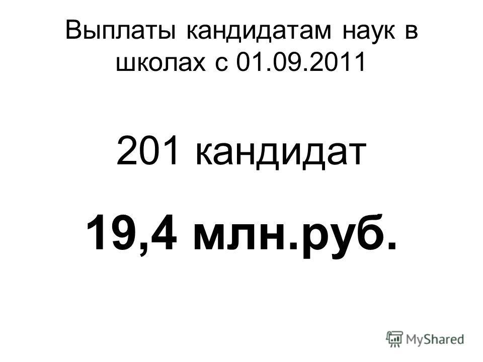 Выплаты кандидатам наук в школах с 01.09.2011 201 кандидат 19,4 млн.руб.
