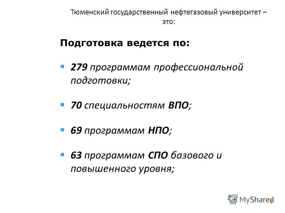 Тюменский государственный нефтегазовый университет – это: Подготовка ведется по: 279 программам профессиональной подготовки; 70 специальностям ВПО; 69 программам НПО; 63 программам СПО базового и повышенного уровня; 3