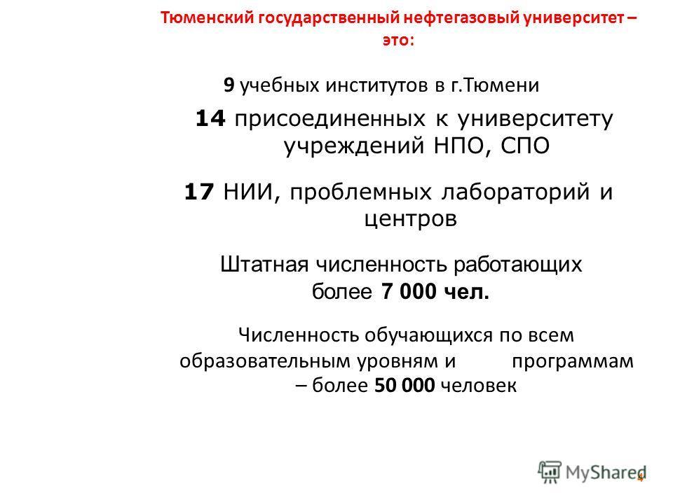 Тюменский государственный нефтегазовый университет – это: 9 учебных институтов в г.Тюмени 4 14 присоедине нн ых к университету учреждений НПО, СПО 17 НИИ, проблемных лабораторий и центров Штатная численность работающих более 7 000 чел. Численность об