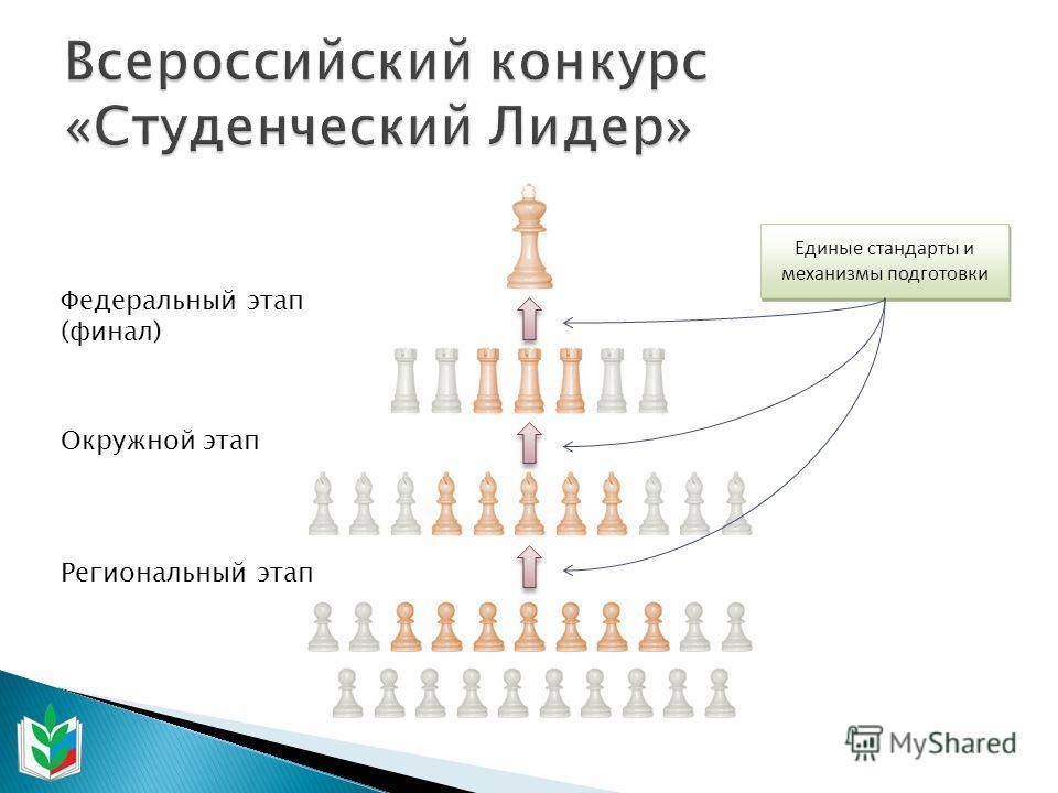 Единые стандарты и механизмы подготовки Федеральный этап (финал) Региональный этап Окружной этап