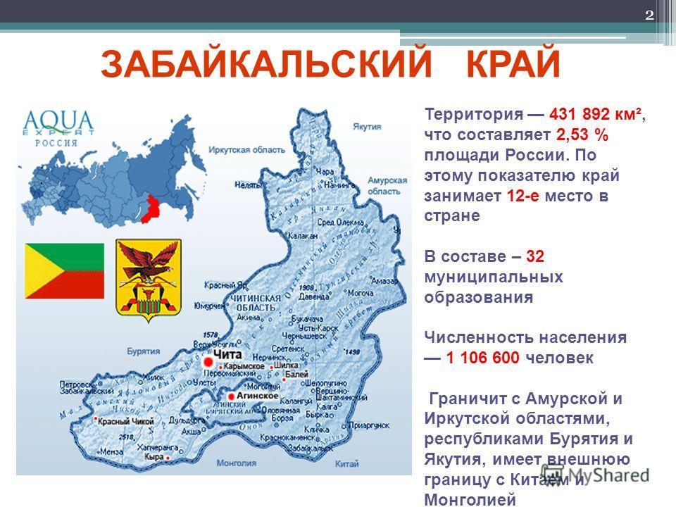 2 Территория 431 892 км², что составляет 2,53 % площади России. По этому показателю край занимает 12-е место в стране В составе – 32 муниципальных образования Численность населения 1 106 600 человек Граничит с Амурской и Иркутской областями, республи