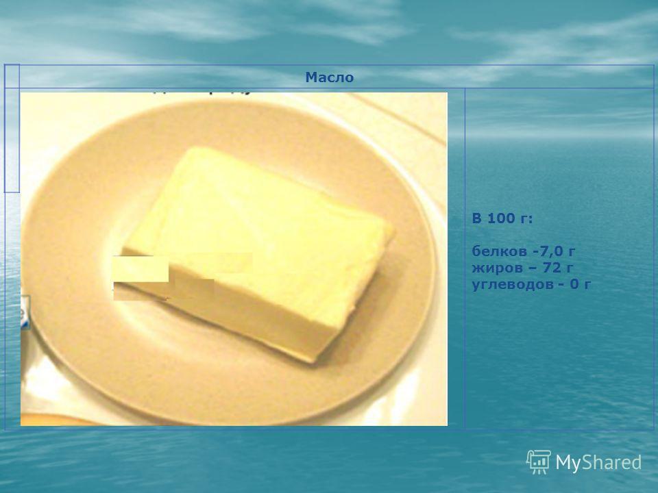 Масло В 100 г: белков -7,0 г жиров – 72 г углеводов - 0 г