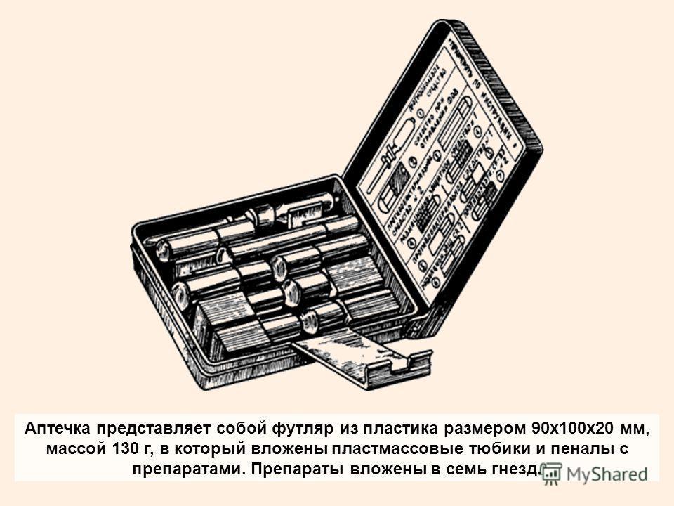 Аптечка представляет собой футляр из пластика размером 90х100х20 мм, массой 130 г, в который вложены пластмассовые тюбики и пеналы с препаратами. Препараты вложены в семь гнезд.