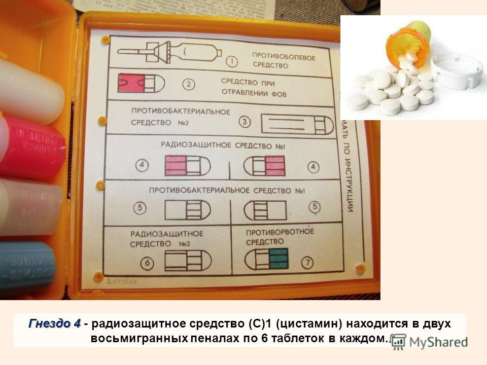 Гнездо 4 Гнездо 4 - радиозащитное средство (С)1 (цистамин) находится в двух восьмигранных пеналах по 6 таблеток в каждом.