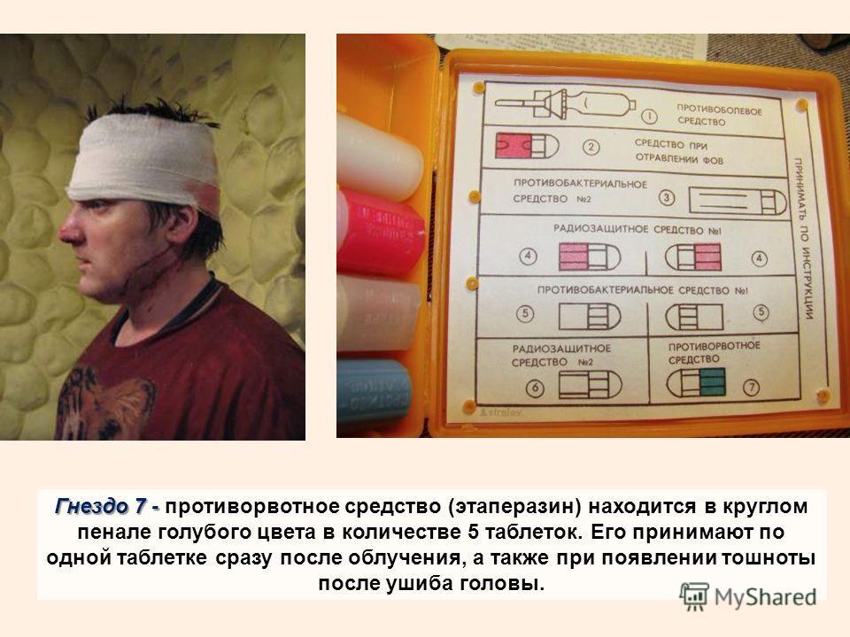 Гнездо 7 - Гнездо 7 - противорвотное средство (этаперазин) находится в круглом пенале голубого цвета в количестве 5 таблеток. Его принимают по одной таблетке сразу после облучения, а также при появлении тошноты после ушиба головы.