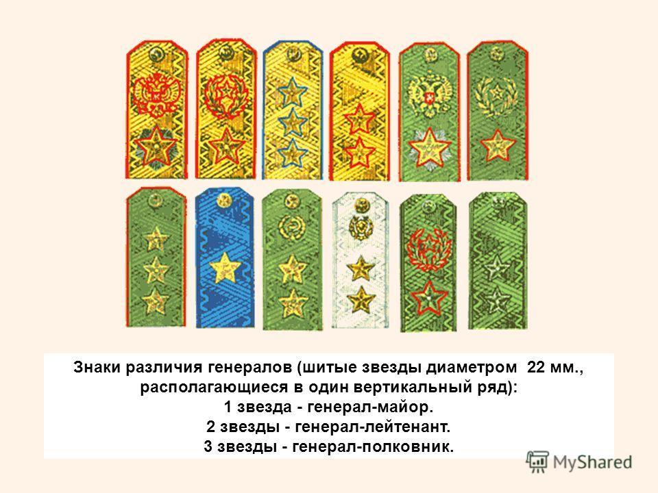 Знаки различия генералов (шитые звезды диаметром 22 мм., располагающиеся в один вертикальный ряд): 1 звезда - генерал-майор. 2 звезды - генерал-лейтенант. 3 звезды - генерал-полковник.