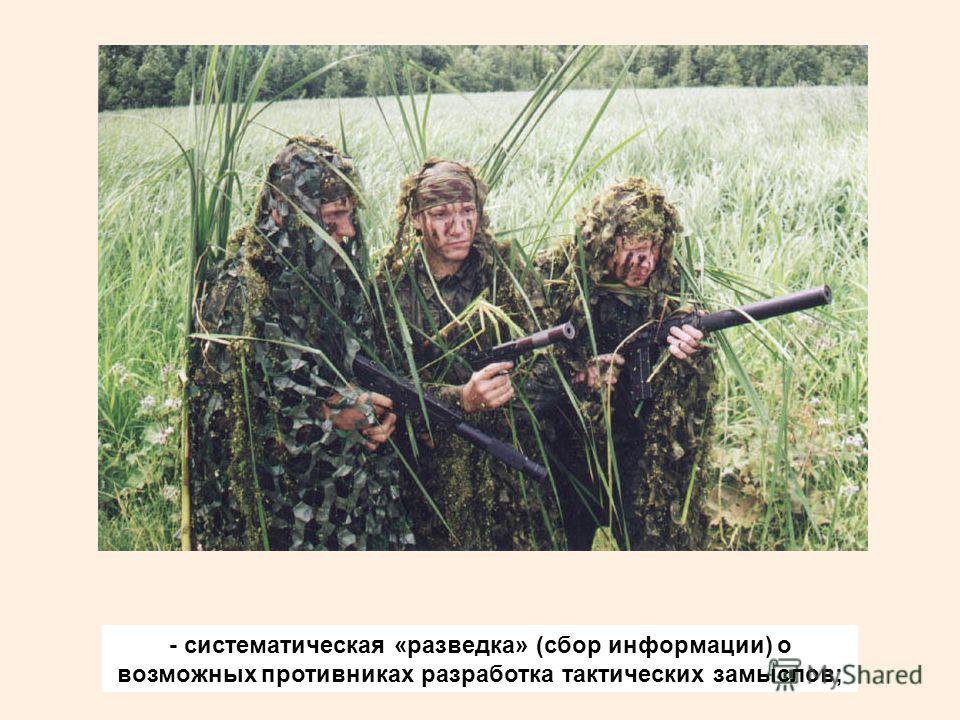 - систематическая «разведка» (сбор информации) о возможных противниках разработка тактических замыслов;