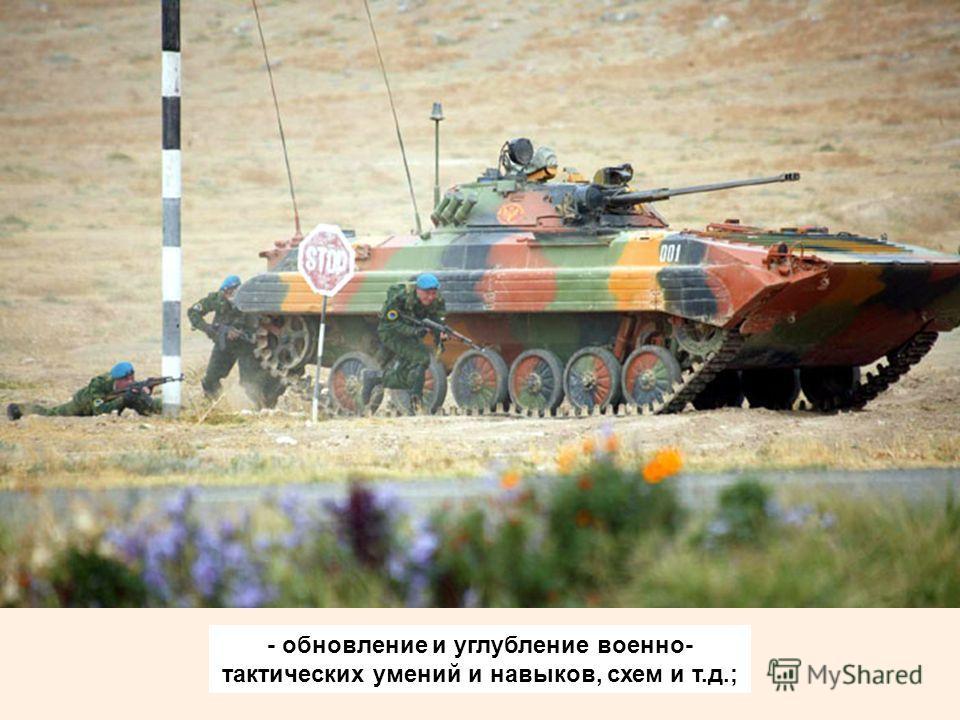 - обновление и углубление военно- тактических умений и навыков, схем и т.д.;