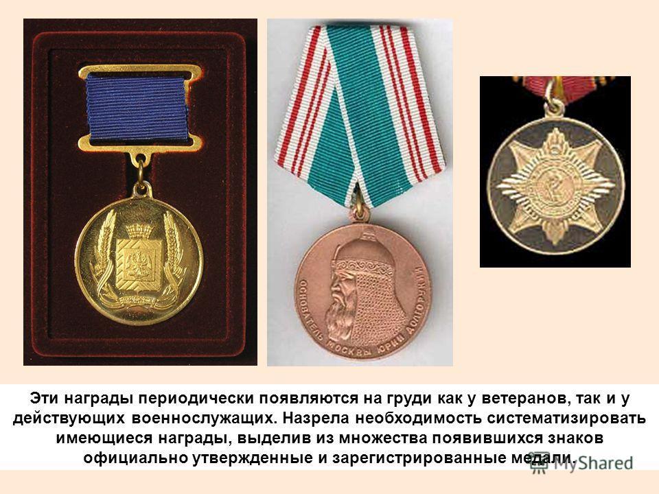 Эти награды периодически появляются на груди как у ветеранов, так и у действующих военнослужащих. Назрела необходимость систематизировать имеющиеся награды, выделив из множества появившихся знаков официально утвержденные и зарегистрированные медали.
