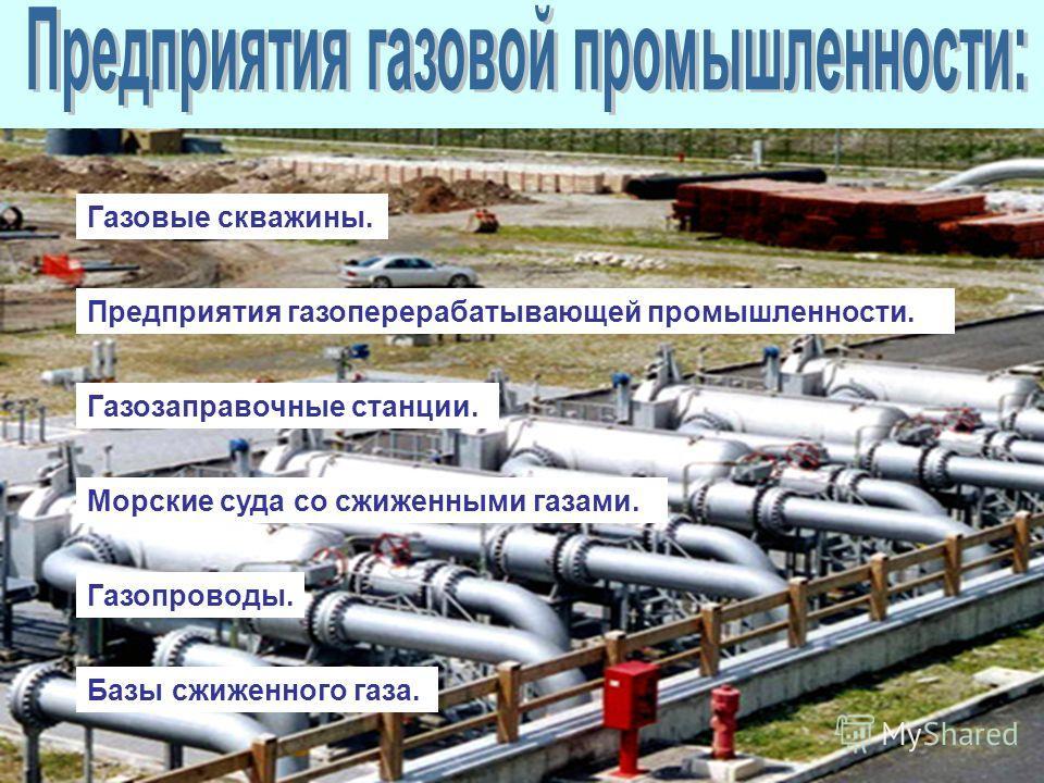 Газовые скважины. Предприятия газоперерабатывающей промышленности. Газозаправочные станции. Морские суда со сжиженными газами. Газопроводы. Базы сжиженного газа.