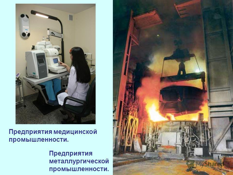 Предприятия медицинской промышленности. Предприятия металлургической промышленности.