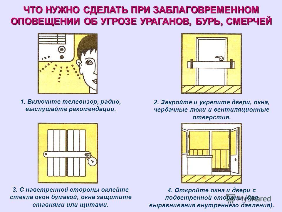 ЧТО НУЖНО СДЕЛАТЬ ПРИ ЗАБЛАГОВРЕМЕННОМ ОПОВЕЩЕНИИ ОБ УГРОЗЕ УРАГАНОВ, БУРЬ, СМЕРЧЕЙ 1. Включите телевизор, радио, выслушайте рекомендации. 2. Закройте и укрепите двери, окна, чердачные люки и вентиляционные отверстия. 3. С наветренной стороны оклейте
