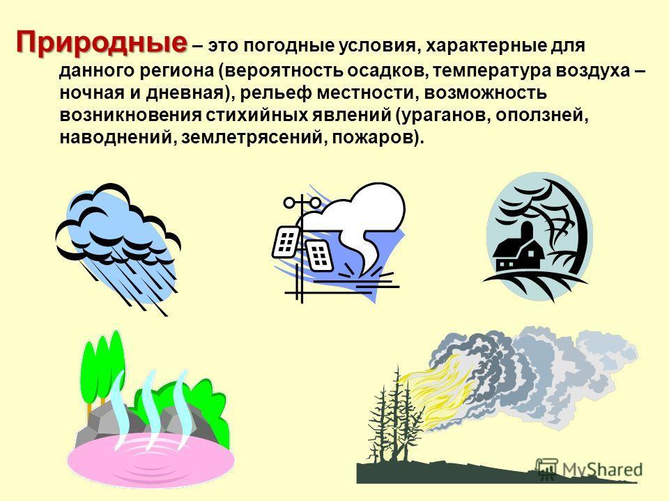 Природные Природные – это погодные условия, характерные для данного региона (вероятность осадков, температура воздуха – ночная и дневная), рельеф местности, возможность возникновения стихийных явлений (ураганов, оползней, наводнений, землетрясений, п