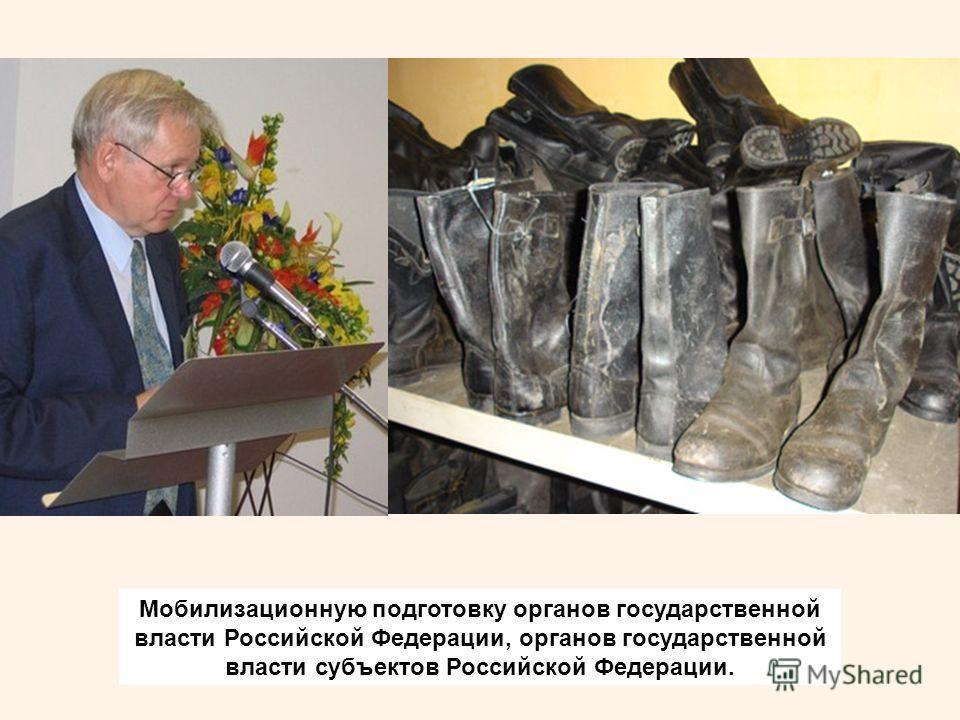 Мобилизационную подготовку органов государственной власти Российской Федерации, органов государственной власти субъектов Российской Федерации.