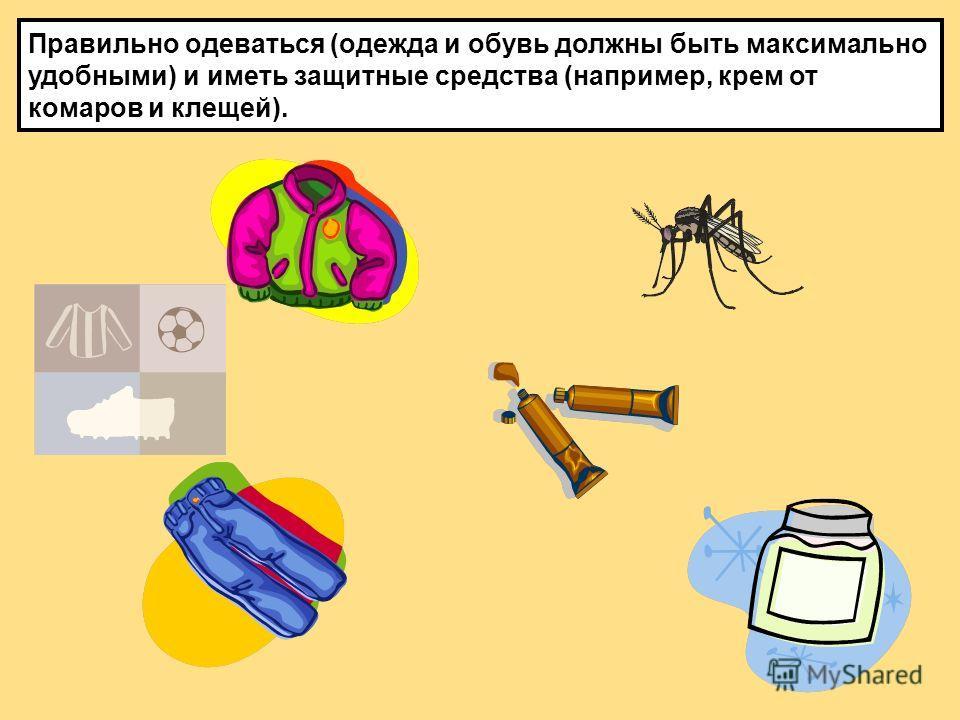 Правильно одеваться (одежда и обувь должны быть максимально удобными) и иметь защитные средства (например, крем от комаров и клещей).
