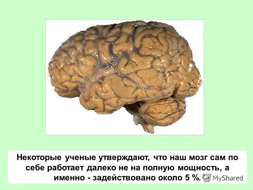 Некоторые ученые утверждают, что наш мозг сам по себе работает далеко не на полную мощность, а именно - задействовано около 5 %.