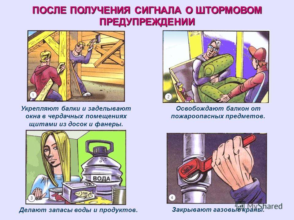ПОСЛЕ ПОЛУЧЕНИЯ СИГНАЛА О ШТОРМОВОМ ПРЕДУПРЕЖДЕНИИ Укрепляют балки и заделывают окна в чердачных помещениях щитами из досок и фанеры. Освобождают балкон от пожароопасных предметов. Делают запасы воды и продуктов. Закрывают газовые краны.