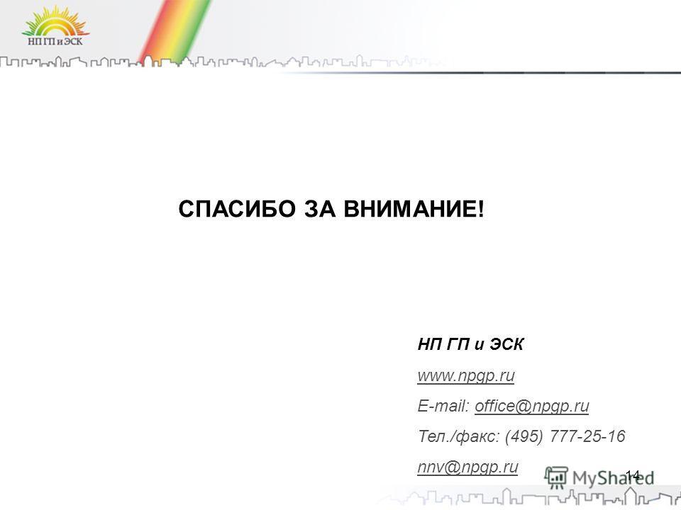 СПАСИБО ЗА ВНИМАНИЕ! НП ГП и ЭСК www.npgp.ru E-mail: office@npgp.ru Тел./факс: (495) 777-25-16 nnv@npgp.ru 14