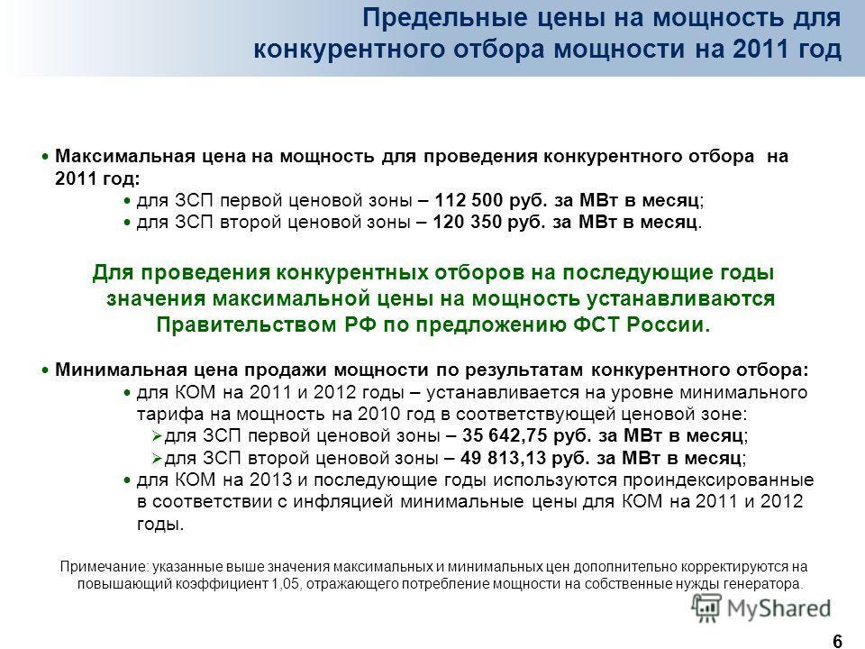 6 Предельные цены на мощность для конкурентного отбора мощности на 2011 год Максимальная цена на мощность для проведения конкурентного отбора на 2011 год: для ЗСП первой ценовой зоны – 112 500 руб. за МВт в месяц; для ЗСП второй ценовой зоны – 120 35
