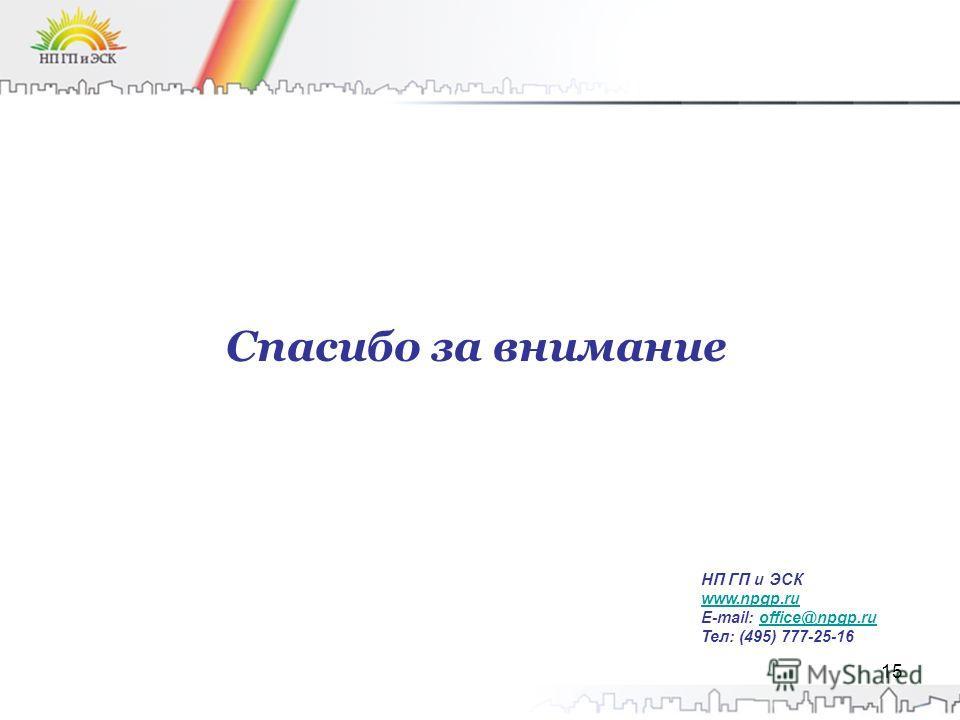 15 Спасибо за внимание НП ГП и ЭСК www.npgp.ru E-mail: office@npgp.ruoffice@npgp.ru Тел: (495) 777-25-16