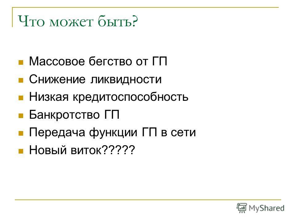 Что может быть? Массовое бегство от ГП Снижение ликвидности Низкая кредитоспособность Банкротство ГП Передача функции ГП в сети Новый виток?????