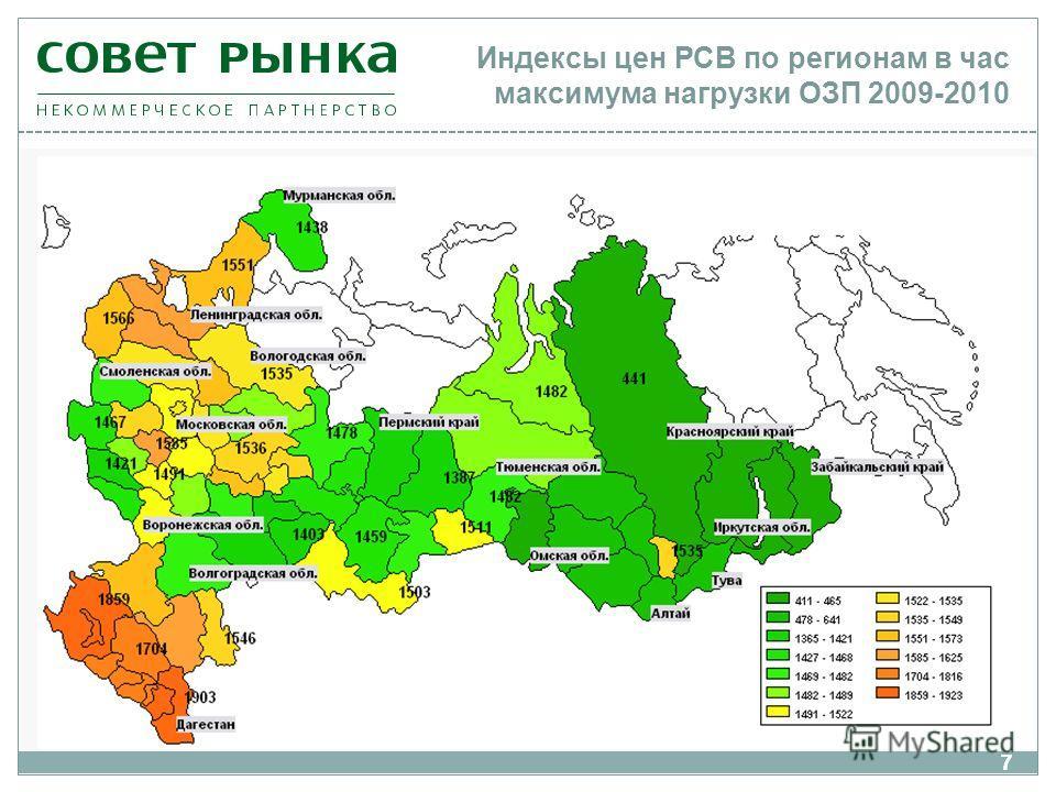 77 Индексы цен РСВ по регионам в час максимума нагрузки ОЗП 2009-2010
