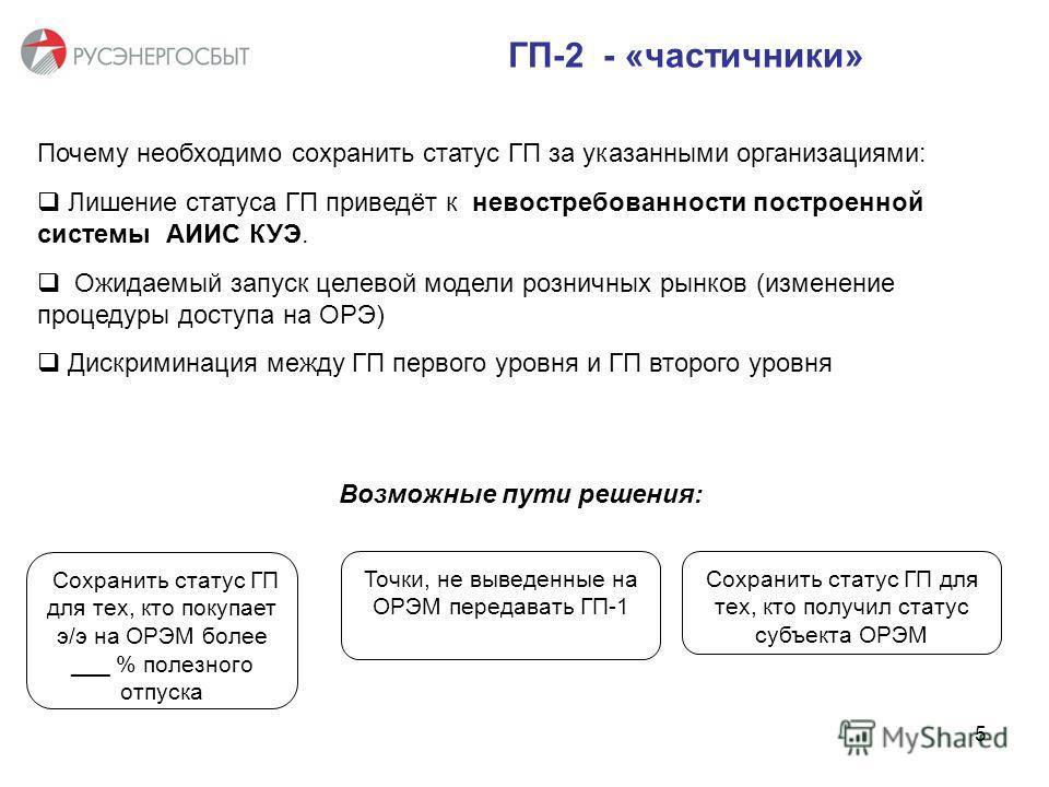 ГП-2 - «частичники» Почему необходимо сохранить статус ГП за указанными организациями: Лишение статуса ГП приведёт к невостребованности построенной системы АИИС КУЭ. Ожидаемый запуск целевой модели розничных рынков (изменение процедуры доступа на ОРЭ