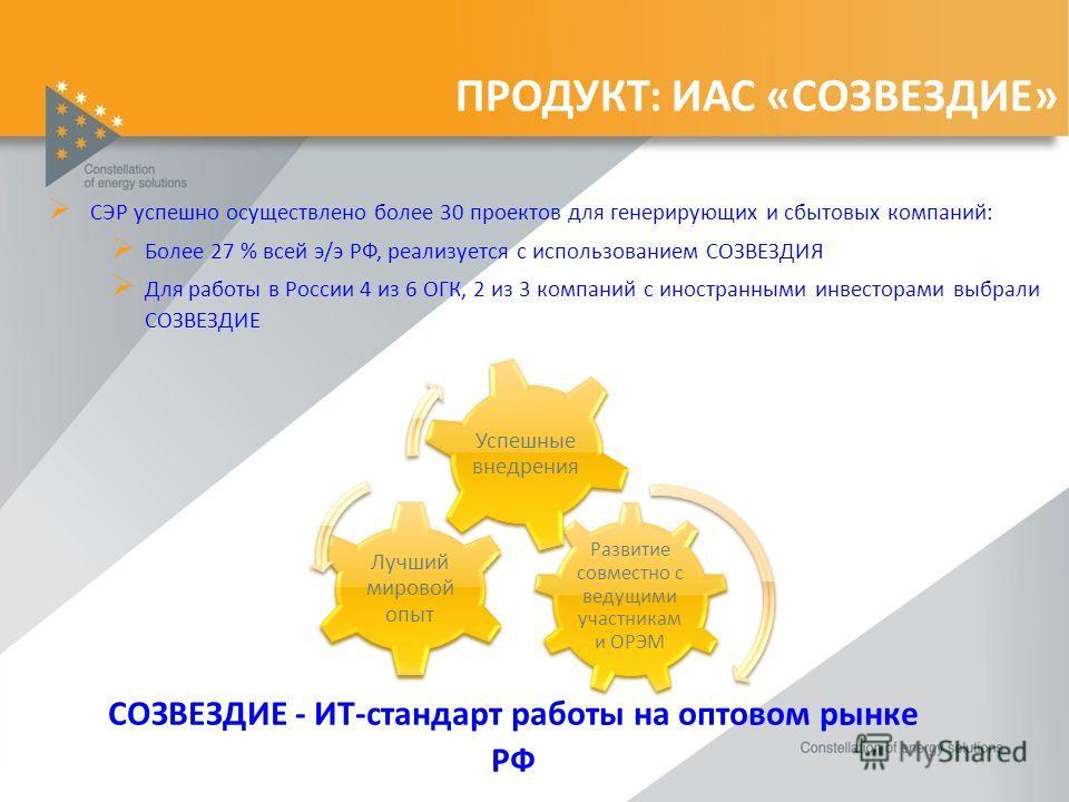 ПРОДУКТ: ИАС «СОЗВЕЗДИЕ» СЭР успешно осуществлено более 30 проектов для генерирующих и сбытовых компаний: Более 27 % всей э/э РФ, реализуется с использованием СОЗВЕЗДИЯ Для работы в России 4 из 6 ОГК, 2 из 3 компаний с иностранными инвесторами выбрал