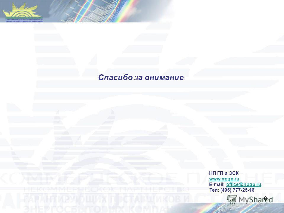 6 Спасибо за внимание НП ГП и ЭСК www.npgp.ru E-mail: office@npgp.ruoffice@npgp.ru Тел: (495) 777-25-16