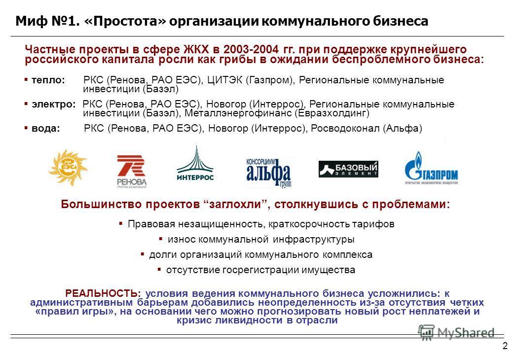 2 тепло: РКС (Ренова, РАО ЕЭС), ЦИТЭК (Газпром), Региональные коммунальные инвестиции (Базэл) электро: РКС (Ренова, РАО ЕЭС), Новогор (Интеррос), Региональные коммунальные инвестиции (Базэл), Металлэнергофинанс (Евразхолдинг) вода: РКС (Ренова, РАО Е