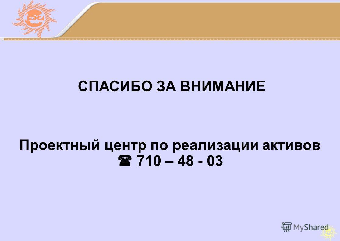 СПАСИБО ЗА ВНИМАНИЕ Проектный центр по реализации активов 710 – 48 - 03