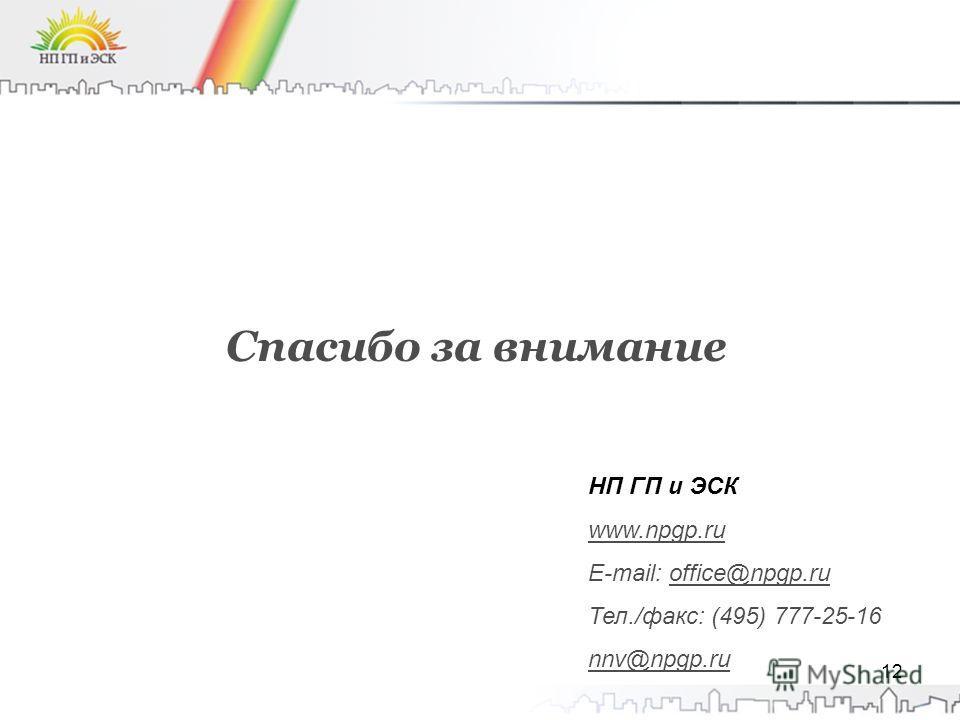 12 Спасибо за внимание НП ГП и ЭСК www.npgp.ru E-mail: office@npgp.ru Тел./факс: (495) 777-25-16 nnv@npgp.ru