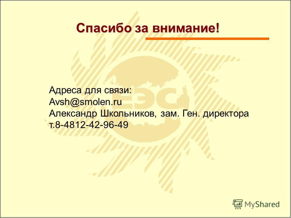 Спасибо за внимание! Адреса для связи: Avsh@smolen.ru Александр Школьников, зам. Ген. директора т.8-4812-42-96-49