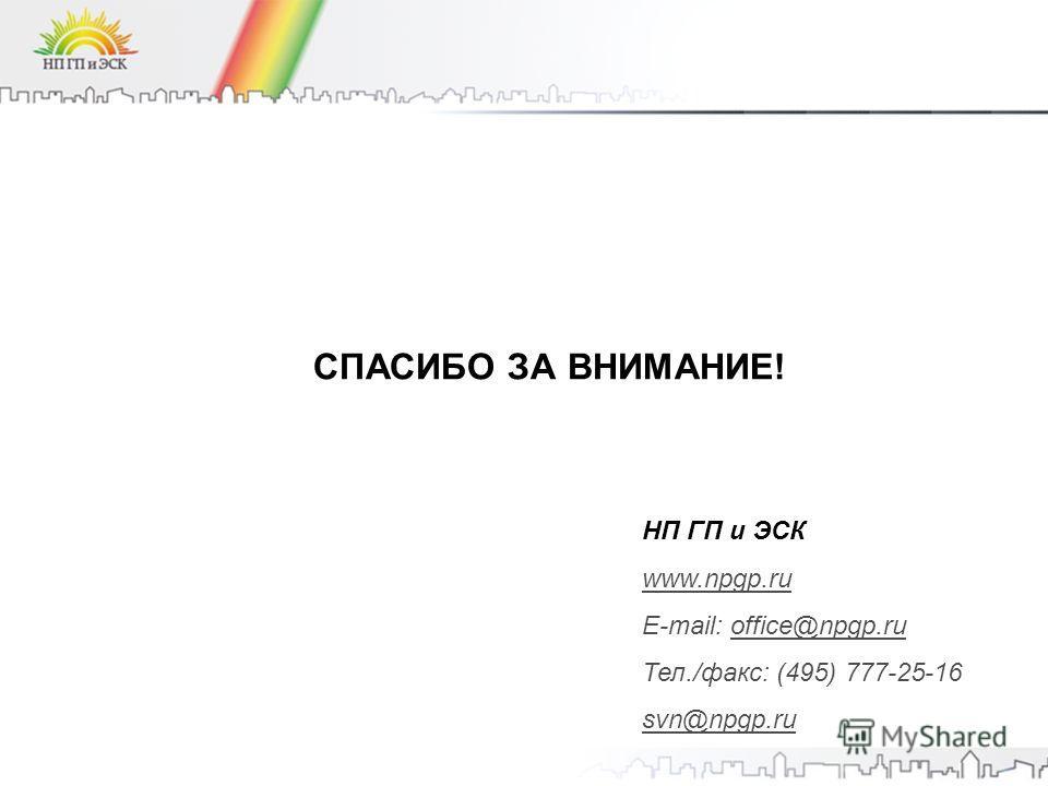 СПАСИБО ЗА ВНИМАНИЕ! НП ГП и ЭСК www.npgp.ru E-mail: office@npgp.ru Тел./факс: (495) 777-25-16 svn@npgp.ru