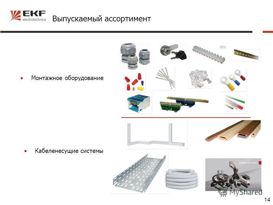 14 Выпускаемый ассортимент Монтажное оборудование Кабеленесущие системы