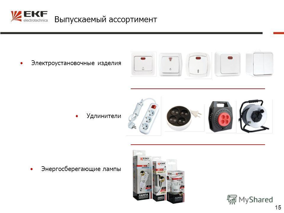 15 Выпускаемый ассортимент Электроустановочные изделия Удлинители Энергосберегающие лампы