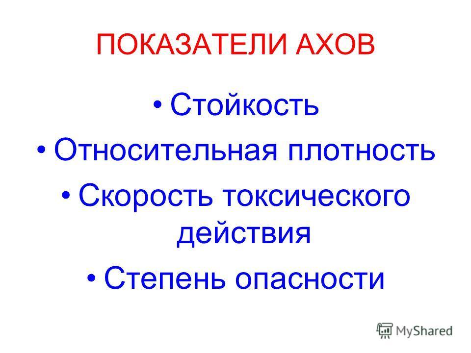 ПОКАЗАТЕЛИ АХОВ Стойкость Относительная плотность Скорость токсического действия Степень опасности