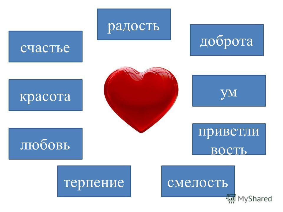 доброта ум любовь смелость красота счастье радость приветли вость терпение