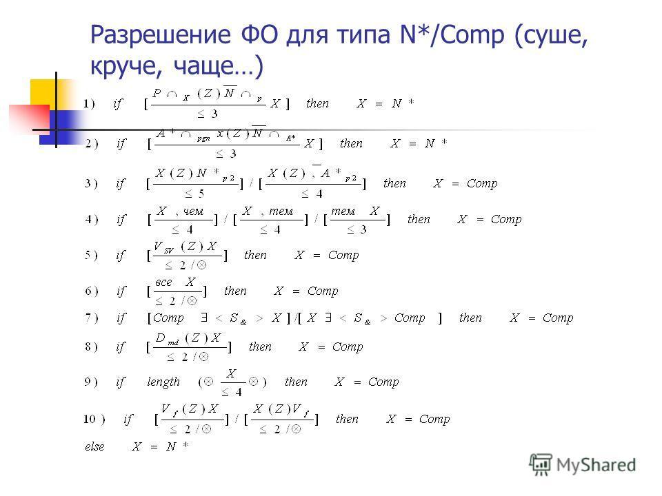 Разрешение ФО для типа N*/Comp (суше, круче, чаще…)