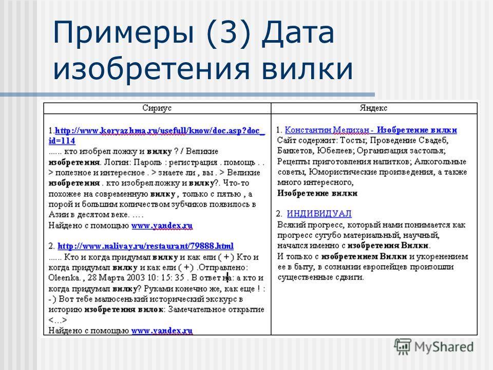 Примеры (3) Дата изобретения вилки