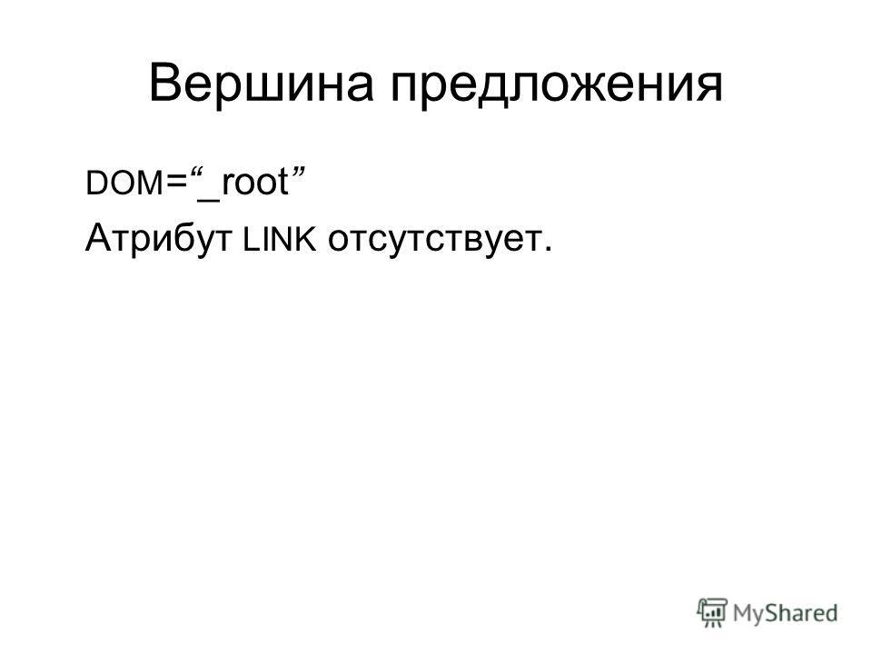 Вершина предложения DOM =_root Атрибут LINK отсутствует.