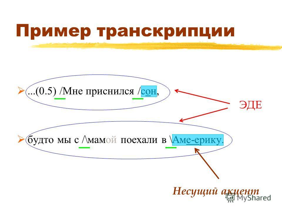 Пример транскрипции...(0.5) /Мне приснился /сон, будто мы с /\мамой поехали в \Аме-ерику. ЭДЕ Несущий акцент