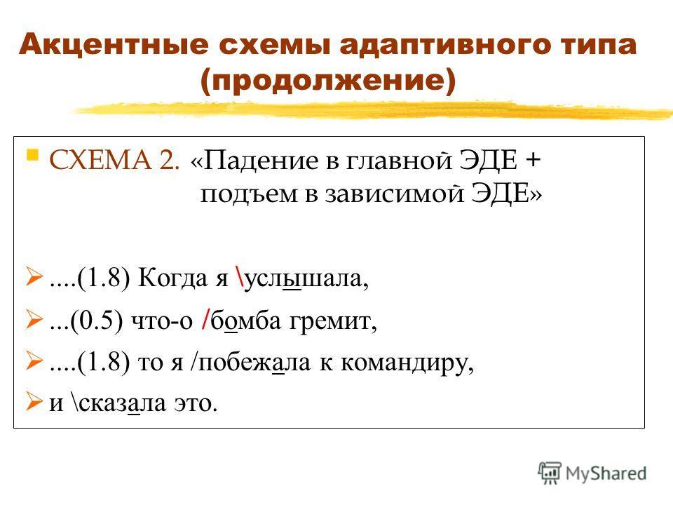 Акцентные схемы адаптивного типа (продолжение) СХЕМА 2. «Падение в главной ЭДЕ + подъем в зависимой ЭДЕ»....(1.8) Когда я \ услышала,...(0.5) что-о / бомба гремит,....(1.8) то я /побежала к командиру, и \сказала это.