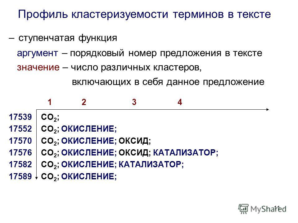 11 Профиль кластеризуемости терминов в тексте – ступенчатая функция аргумент – порядковый номер предложения в тексте значение – число различных кластеров, включающих в себя данное предложение 1 2 3 4 17539 СО 2 ; 17552 СО 2 ; ОКИСЛЕНИЕ; 17570 СО 2 ;