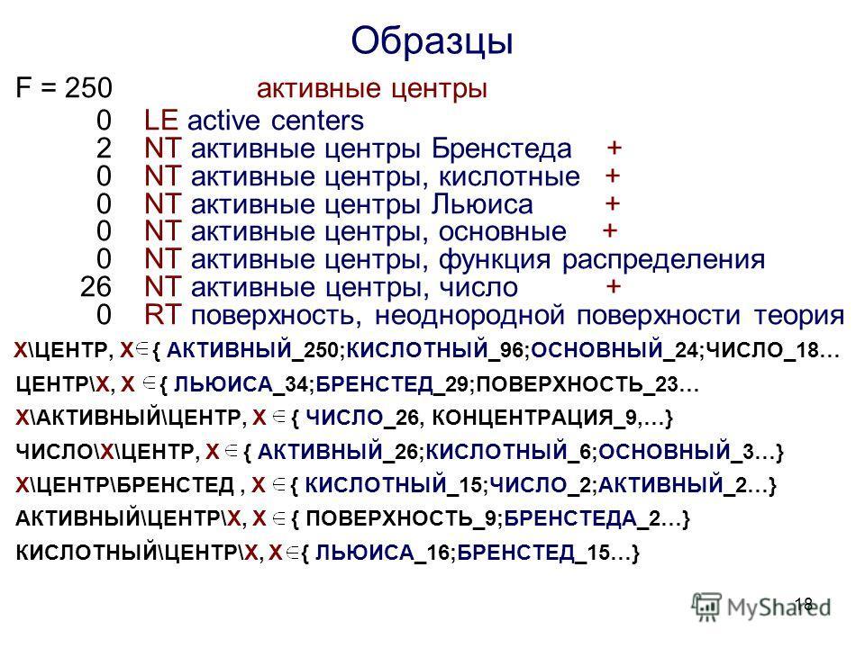 18 Образцы F = 250 активные центры 0 LE active centers 2 NT активные центры Бренстеда + 0 NT активные центры, кислотные + 0 NT активные центры Льюиса + 0 NT активные центры, основные + 0 NT активные центры, функция распределения 26 NT активные центры