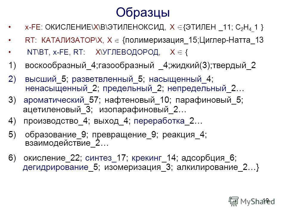 19 Образцы x-FE: ОКИСЛЕНИЕ\X\В\ЭТИЛЕНОКСИД, X {ЭТИЛЕН _11; С 2 Н 4_ 1 } RT: КАТАЛИЗАТОР\Х, Х {полимеризация_15;Циглер-Натта_13 NT\BT, x-FE, RT: X\УГЛЕВОДОРОД, X { 1)воскообразный_4;газообразный _4;жидкий(3);твердый_2 2)высший_5; разветвленный_5; насы