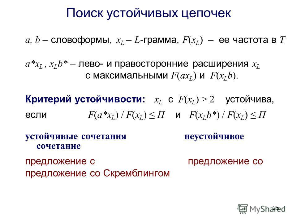 25 Поиск устойчивых цепочек а, b – словоформы, x L – L -грамма, F(x L ) – ее частота в Т а*x L, x L b* – лево- и правосторонние расширения x L с максимальными F(аx L ) и F(x L b). Критерий устойчивости: x L с F(x L ) > 2 устойчива, если F(a*x L ) / F