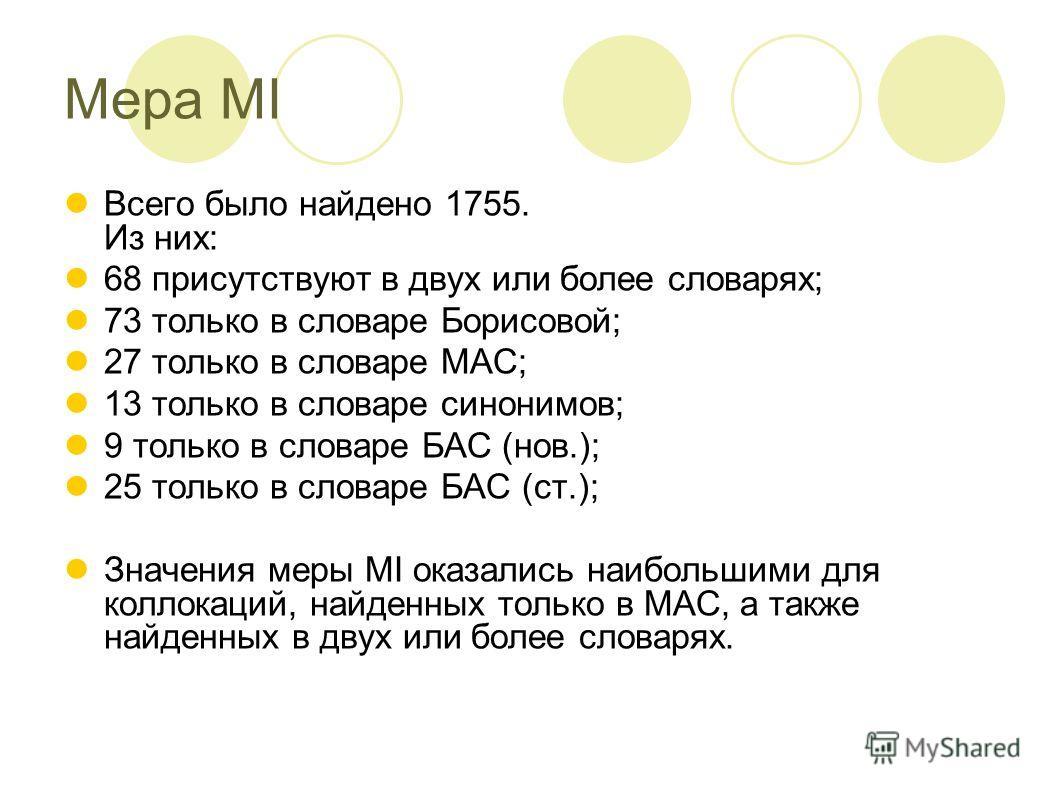 Мера MI Всего было найдено 1755. Из них: 68 присутствуют в двух или более словарях; 73 только в словаре Борисовой; 27 только в словаре МАС; 13 только в словаре синонимов; 9 только в словаре БАС (нов.); 25 только в словаре БАС (ст.); Значения меры MI