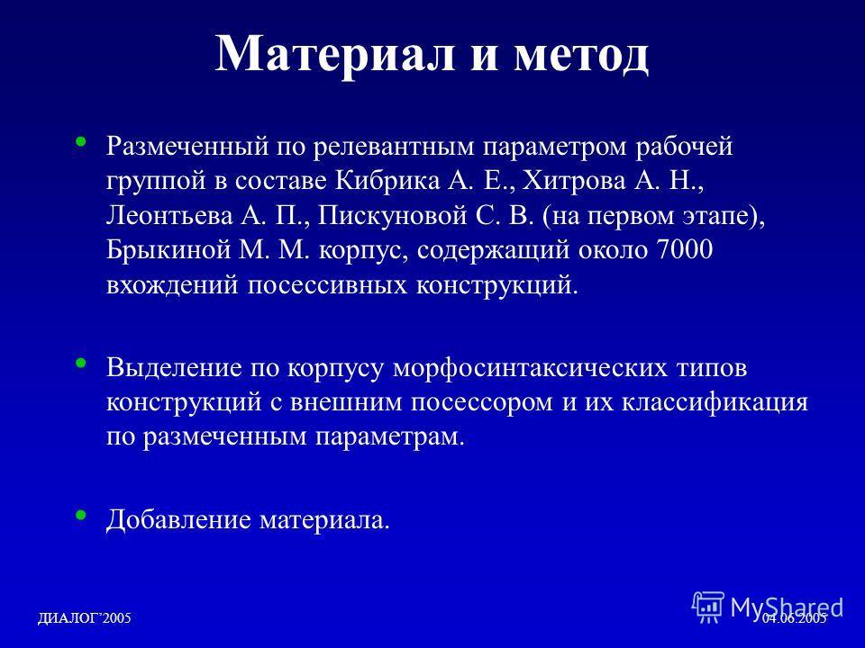 Материал и метод Размеченный по релевантным параметром рабочей группой в составе Кибрика А. Е., Хитрова А. Н., Леонтьева А. П., Пискуновой С. В. (на первом этапе), Брыкиной М. М. корпус, содержащий около 7000 вхождений посессивных конструкций. Выделе