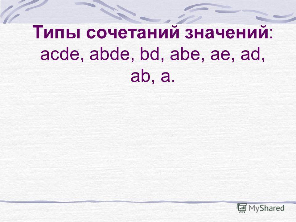 Типы сочетаний значений: acde, abde, bd, abe, ae, ad, ab, a.